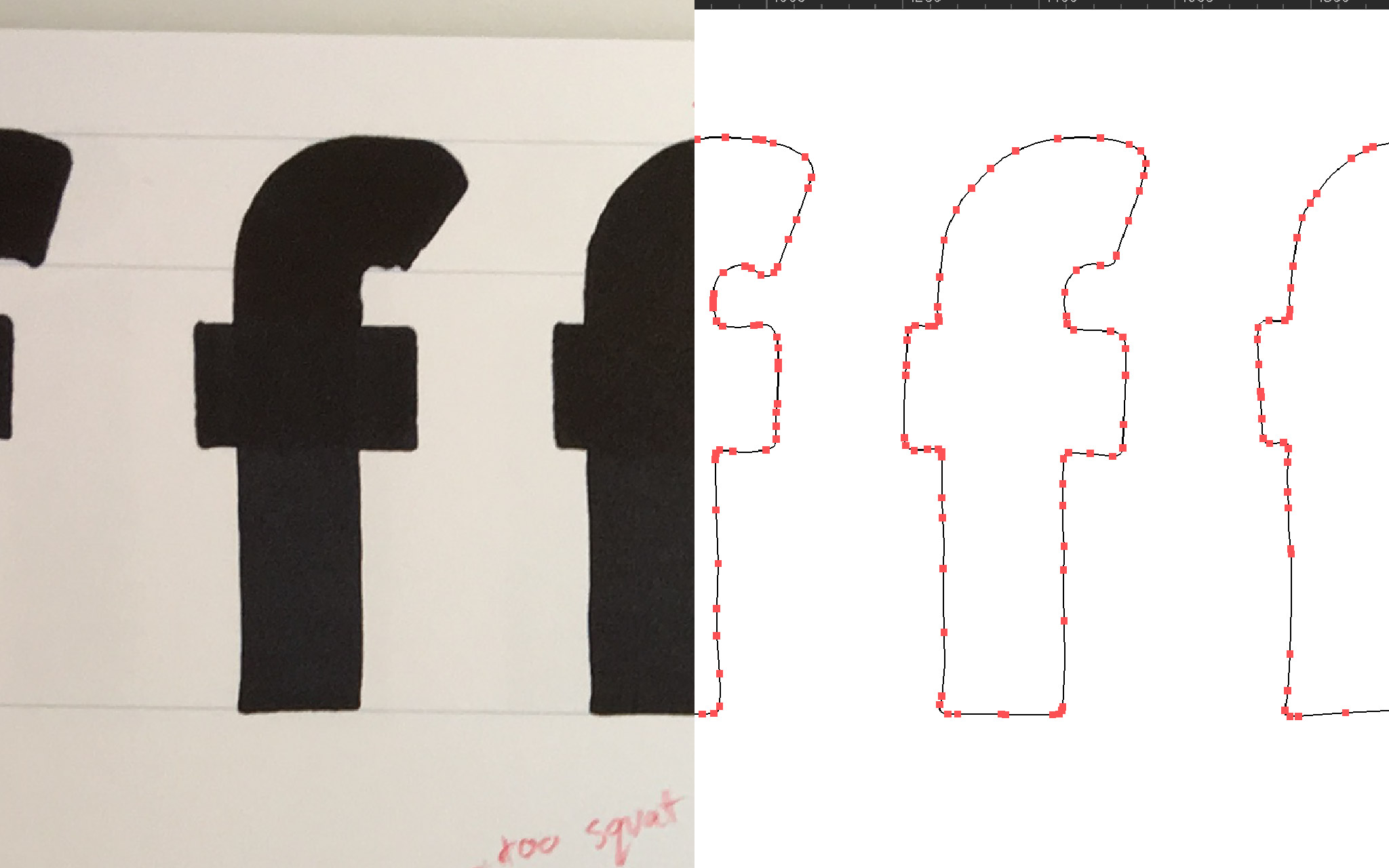 hand drawn glyphs in photo and vectorized digital forms
