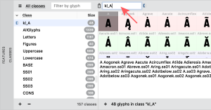 image of named class in Classes Panel with arrow pointing to class name text box