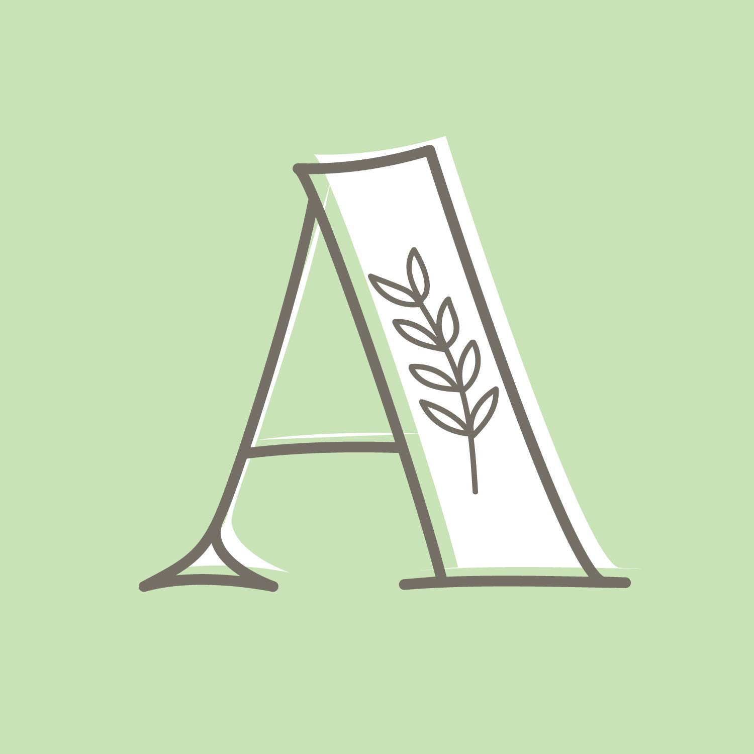 dark grey high contrast serif letter A with an olive branch in the thick downstroke, with white offset interior over soft mint green background