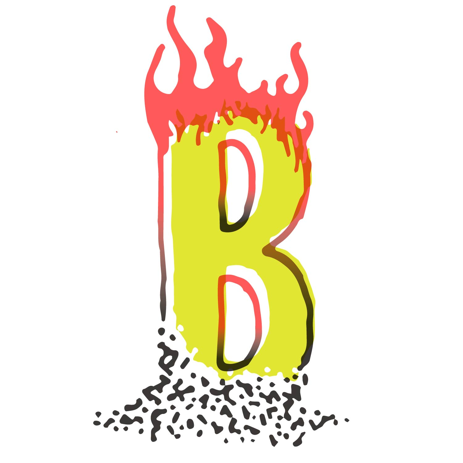 hand drawn B whose top it aflame and whose bottom is a pile of ash, outlined in radiated red and black, with an offset yellow-green interior
