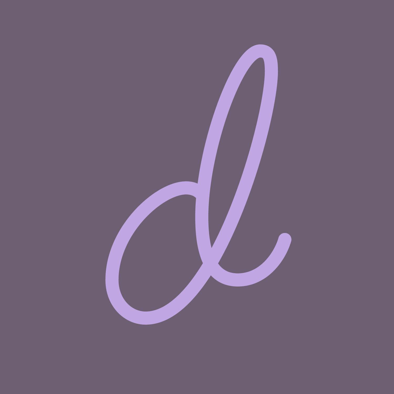 moonlike scripted light purple letter d on a dark purple background