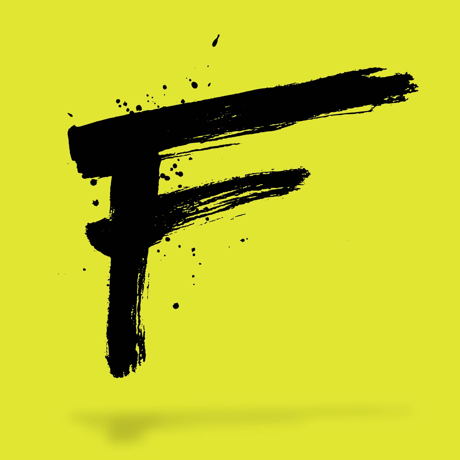 wild splatter ink brushed letter F floating on a bright yellow green background