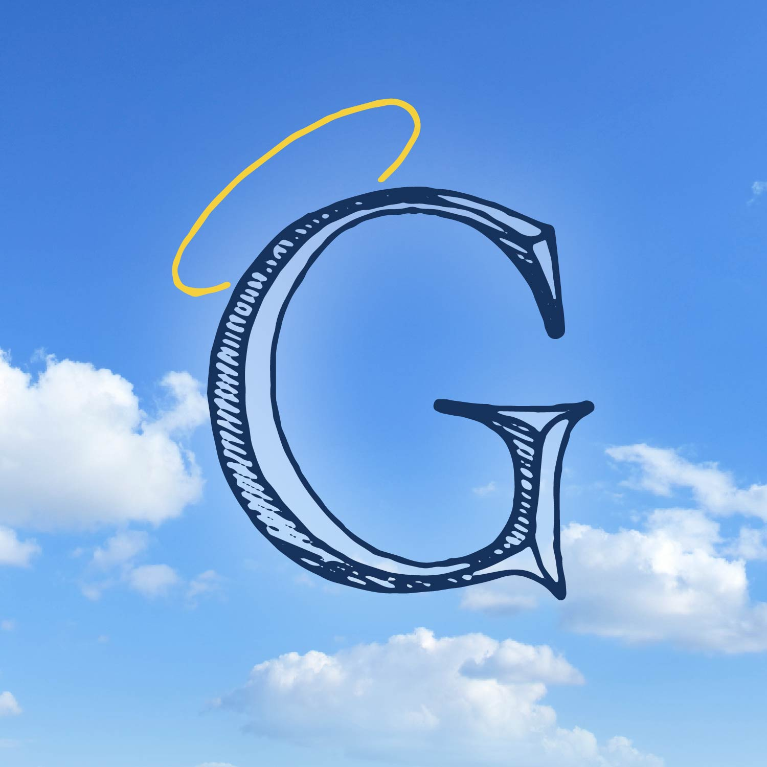 hand drawn Roman inscription style letter G with a halo over a background on sky and clouds