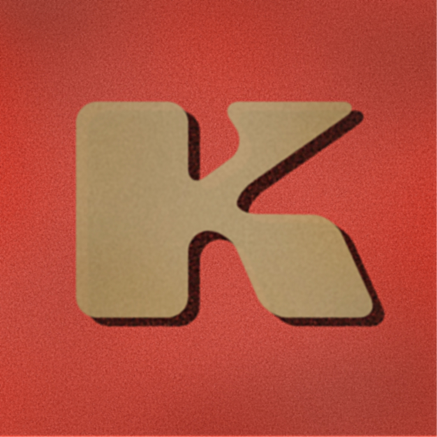 stylized and textured brown letter K with shadow on a red background