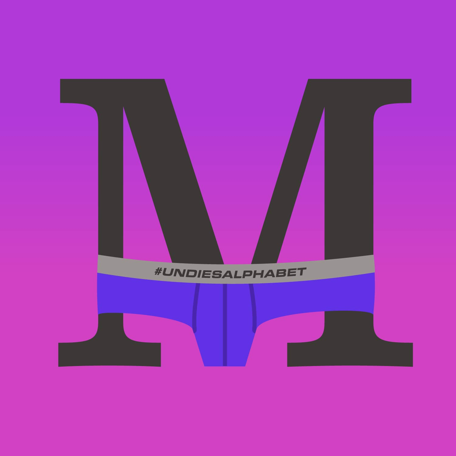 serif letter M wearing indigo colored men's briefs on a gradient background fading from purple to pink
