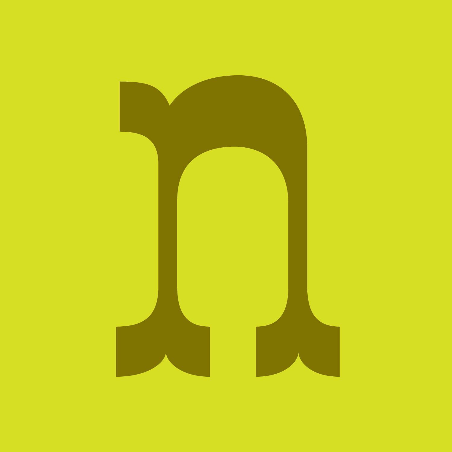 condensed reverse contrast tuscan letter n in olive green on a lime green background