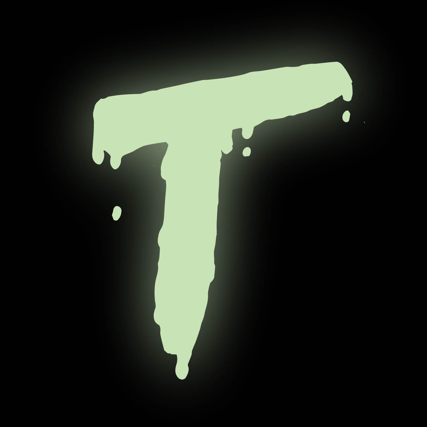 dripping and glowing letter T