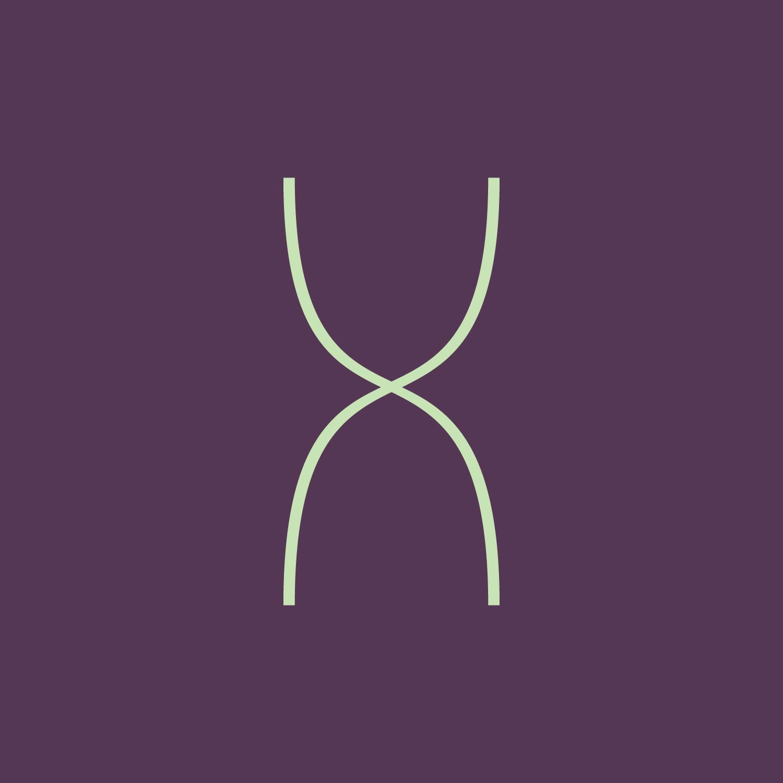 thin letter X stylized like a double helix