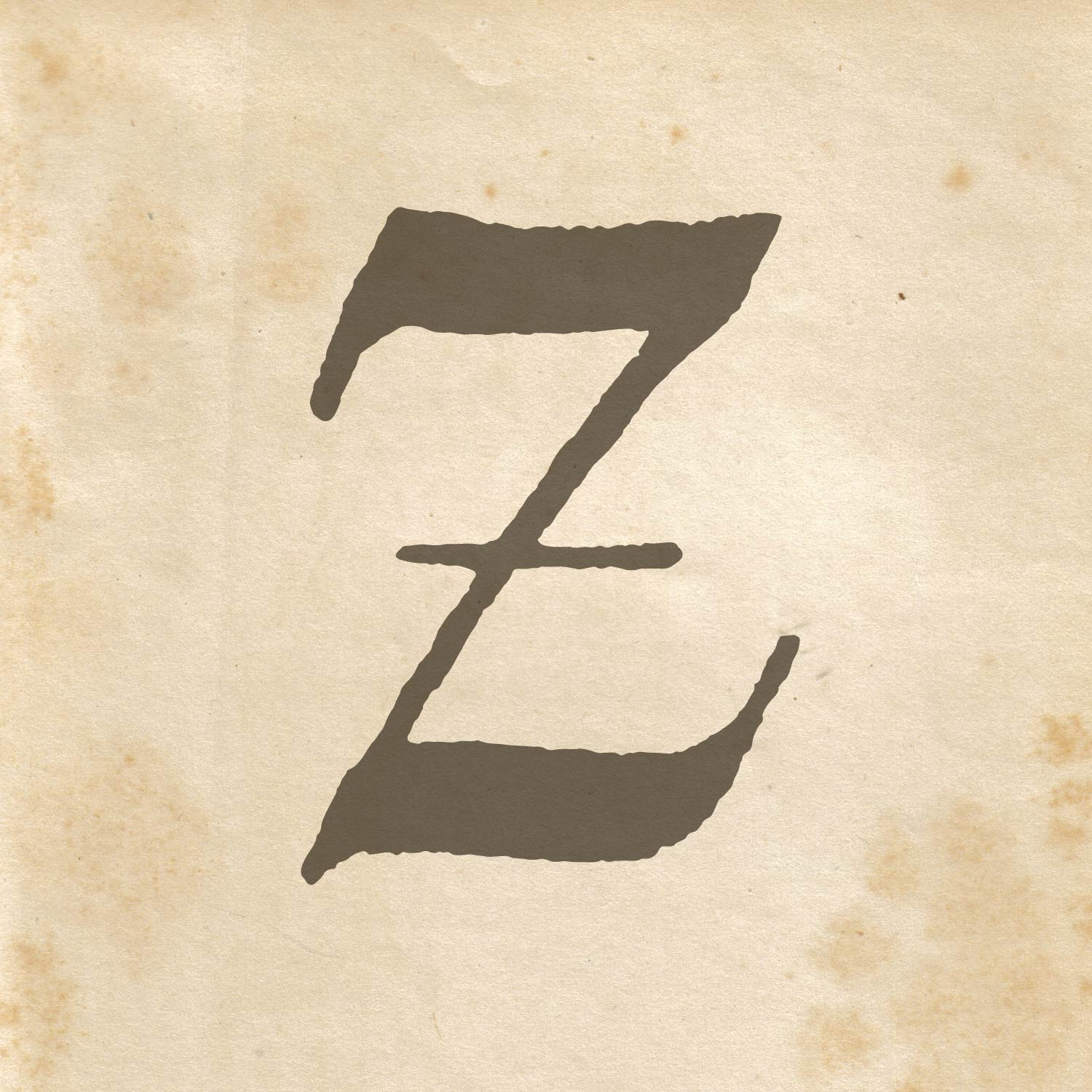 calligraphically written letter Z on old looking paper