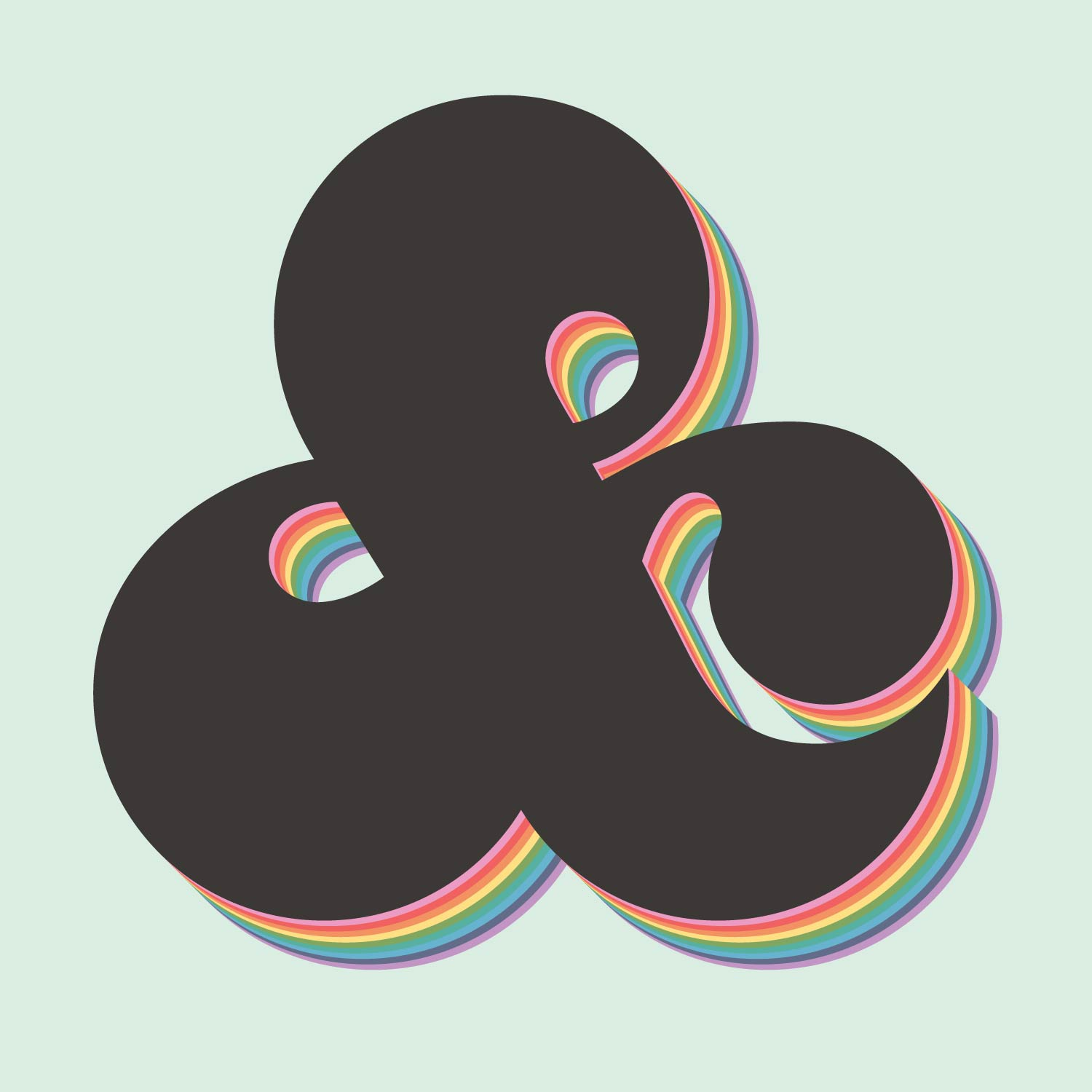 bubbly rounded high contrast ampersand with rainbow extruded body over a soft pastel blue background
